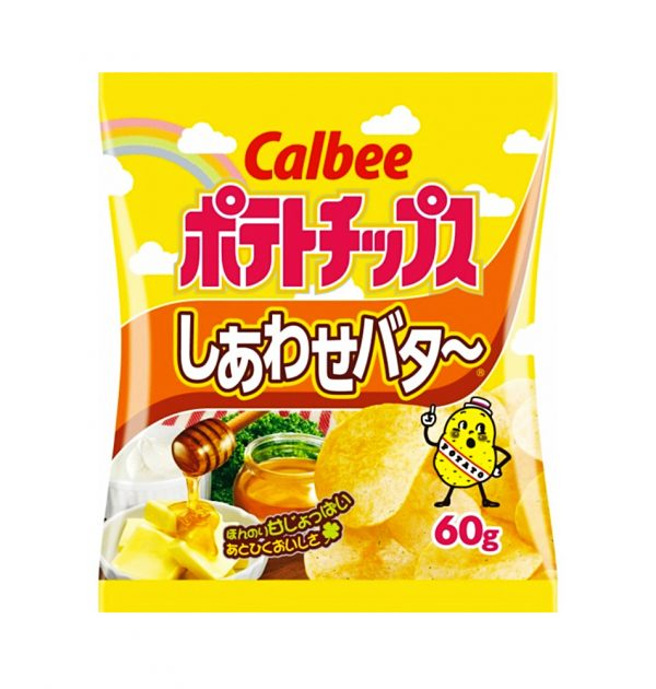 CALBEE Potato Chips Happy Butter - 60g x 12 Bags
