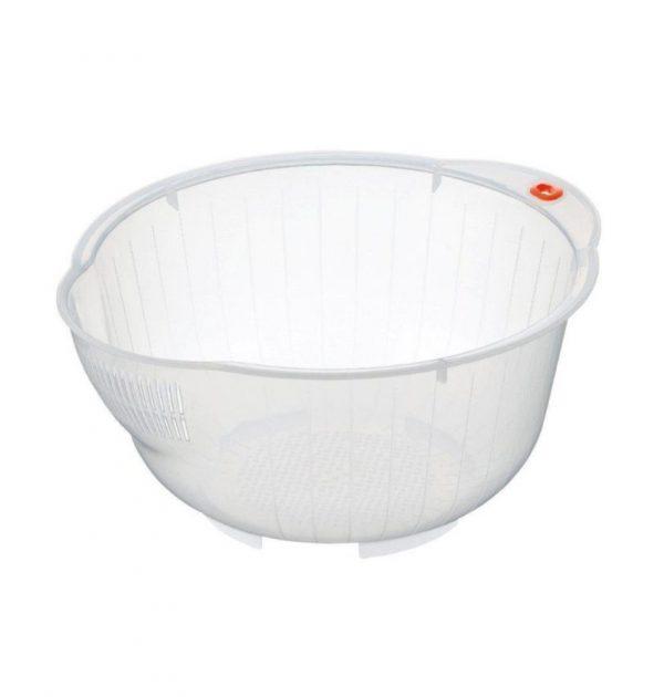 INOMATA Japanese Rice Washing Bowl with Side and Bottom Drainer - Super Bowl 25