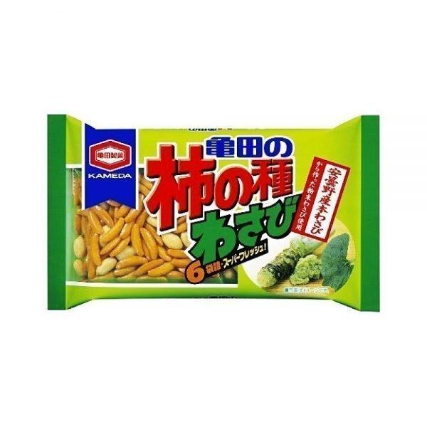 KAMEDA Kakinotane Rice Crackers & Peanuts - Wasabi Flavour 6 Bags