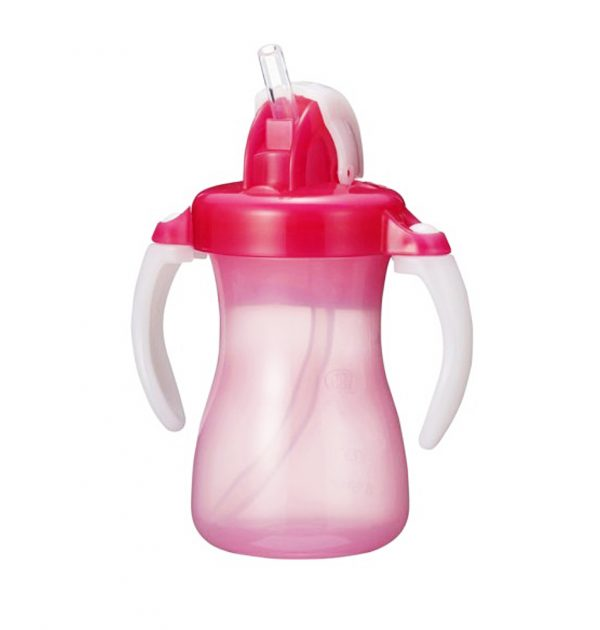 PIGEON Petit Straw Bottle Strawberry Pink