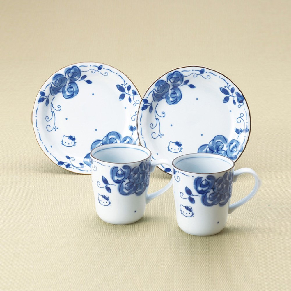 HELLO KITTY Mug Cup \u0026 Small Plate Set - Blue Rose : blue and white plate set - pezcame.com