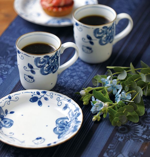 HELLO KITTY Mug Cup & Small Plate Set - Blue Rose