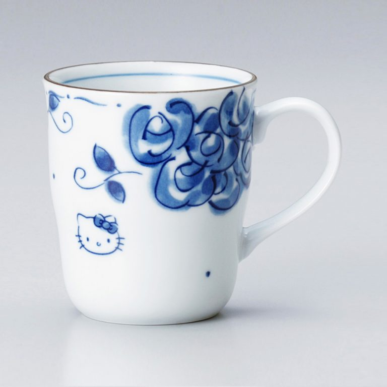 HELLO KITTY Mug Cup & Small Plate Set - Blue Rose