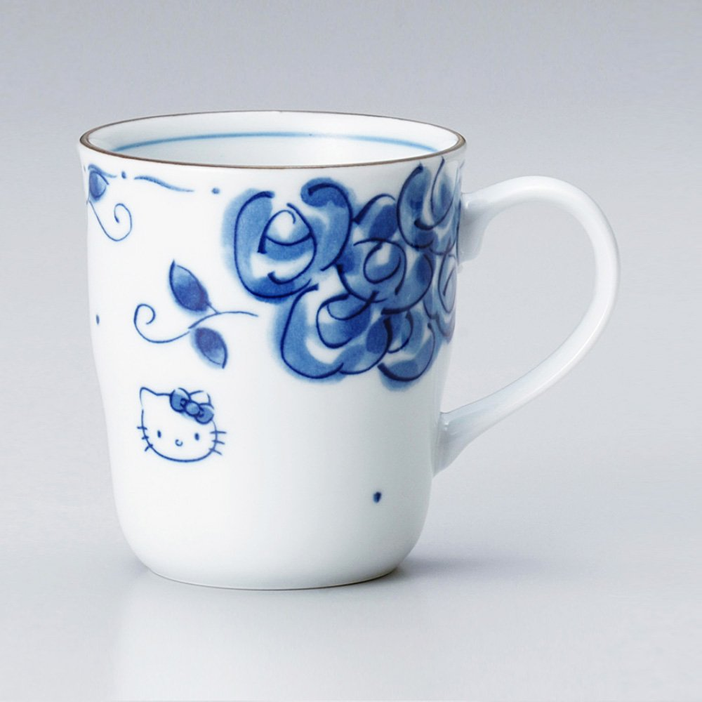 9b30f02092b HELLO KITTY Mug Cup & Small Plate Set - Blue Rose - TAKASKI.COM