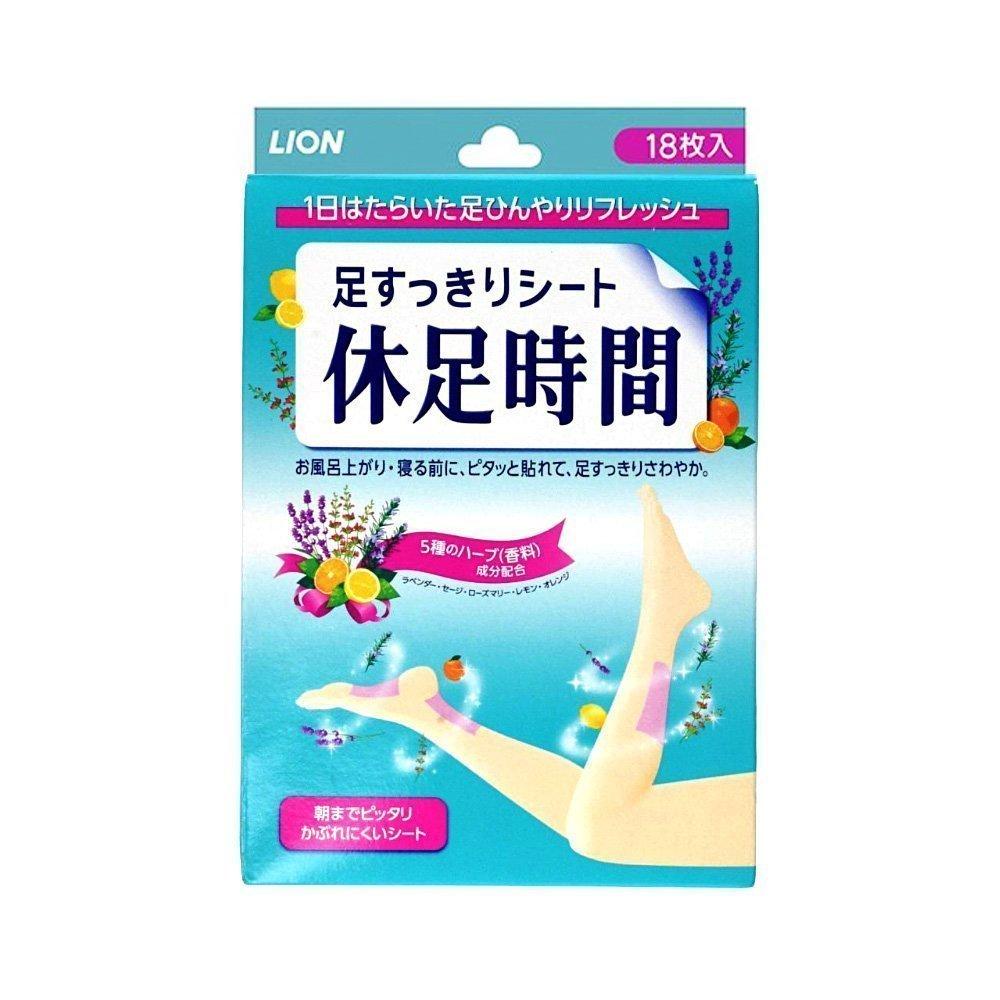 LION Foot Relax Sheet Kyusoku Jikan Ashi Sukkiri - 18pcs