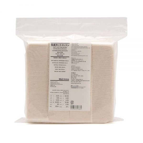 MUJI Makeup Facial Soft Cut Cotton Unbleached - 180pcs