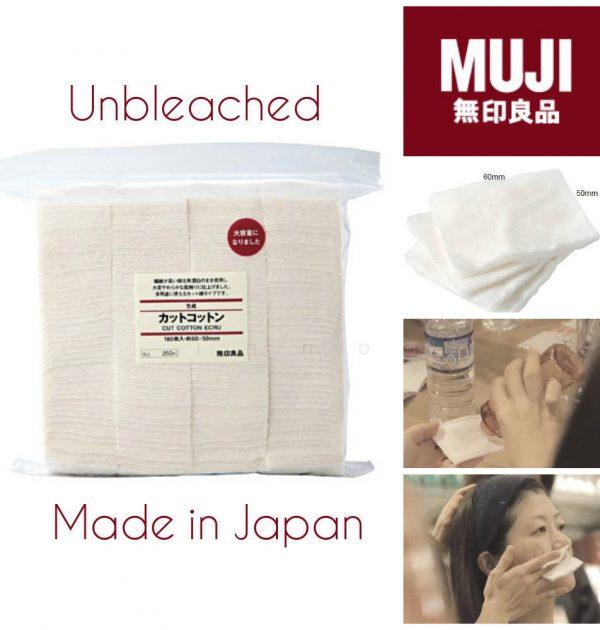 MUJI Makeup Facial Soft Cut Cotton Unbleached - 180pcs