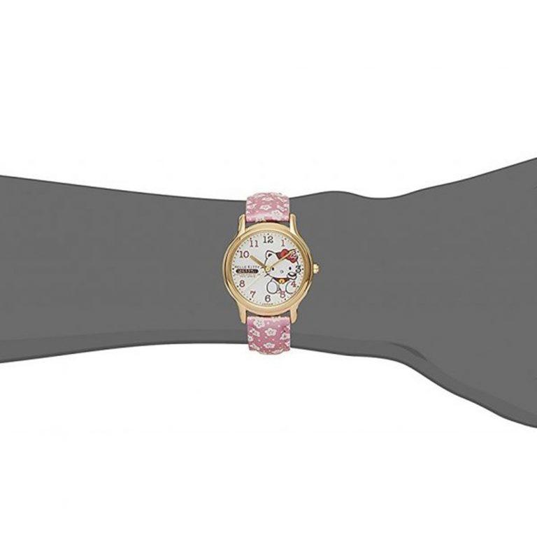 CITIZEN Q&Q Hello Kitty Wrist Watch with Leather Belt - Sakura & Lucky Cat
