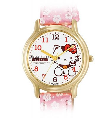 CITIZEN Q&Q Hello Kitty Wrist Watch with Leather Belt - Sakura & Lucky Cat