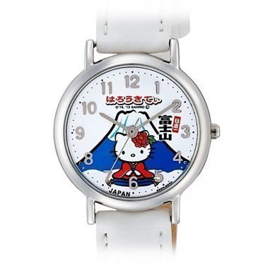 CITIZEN Q&Q Hello Kitty Wrist Watch with Leather-Like Belt - White & Mt Fuji