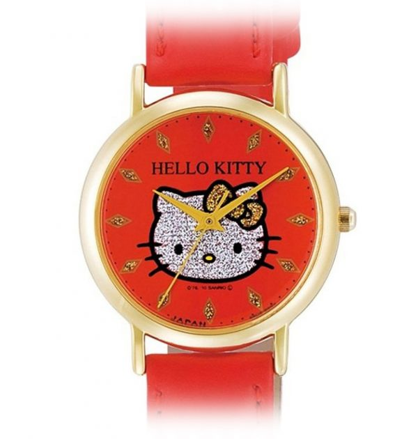CITIZEN Q&Q Hello Kitty Wrist Watch with Leather-Like Belt - Red & Gold