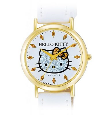 CITIZEN Q&Q Hello Kitty Wrist Watch with Leather-Like Belt - White & Gold
