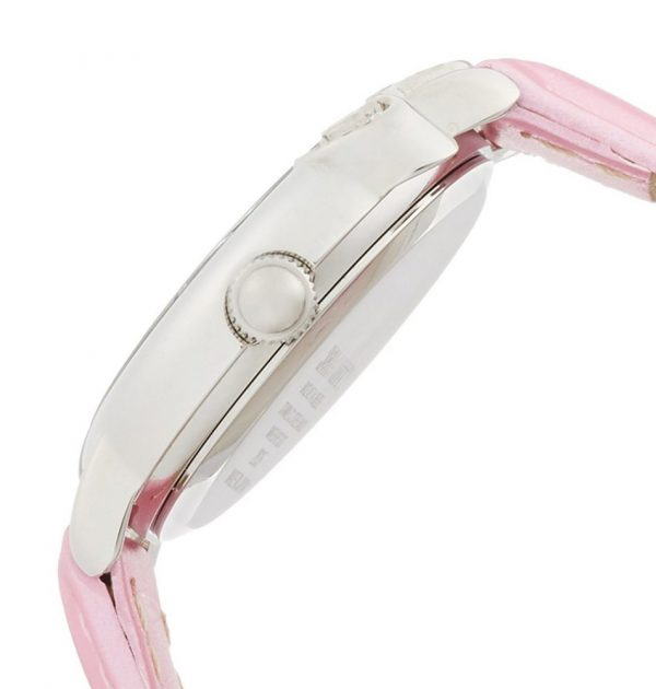 CITIZEN Q&Q Hello Kitty Wrist Watch with Leather-Like Belt - Pink & Stone Ribbon