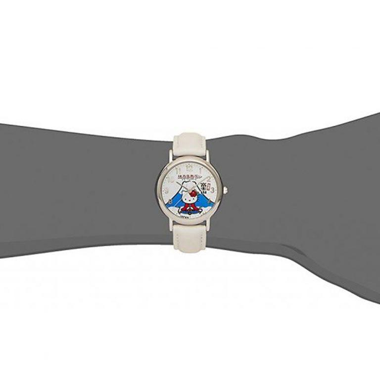 CITIZEN Q&Q Hello Kitty Wrist Watch with Leather-Like Belt - White & Mt Fuji