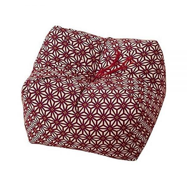 Japanese Sobagara Buckwheat Husk Cushion & Pillow - Hemp Leaf Red