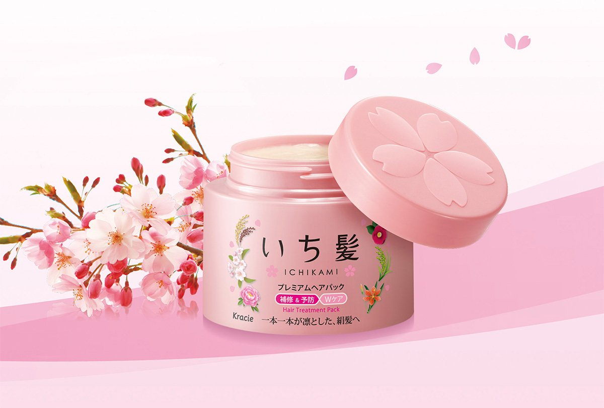 KRACIE Ichikami Premium Hair Treatment Pack Sakura Aroma - 2016 Latest 180g