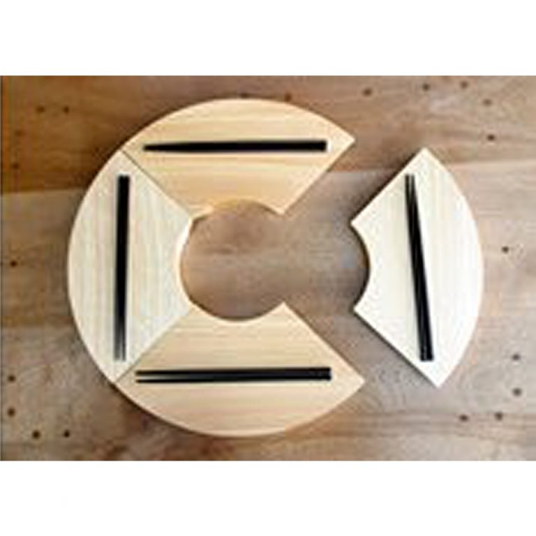 Wooden Fan-Shaped Sushi Plate - Japanese Cypress with Chopsticks & Mini Plate