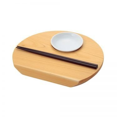 Wooden Moon-Shaped Sushi Plate - Japanese Cypress with Chopsticks & Mini Plate (Copy)