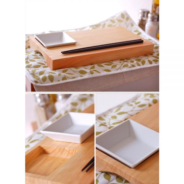 Wooden Zen Sushi Plate – Japanese Cypress with Chopsticks & Soy Sauce Plate