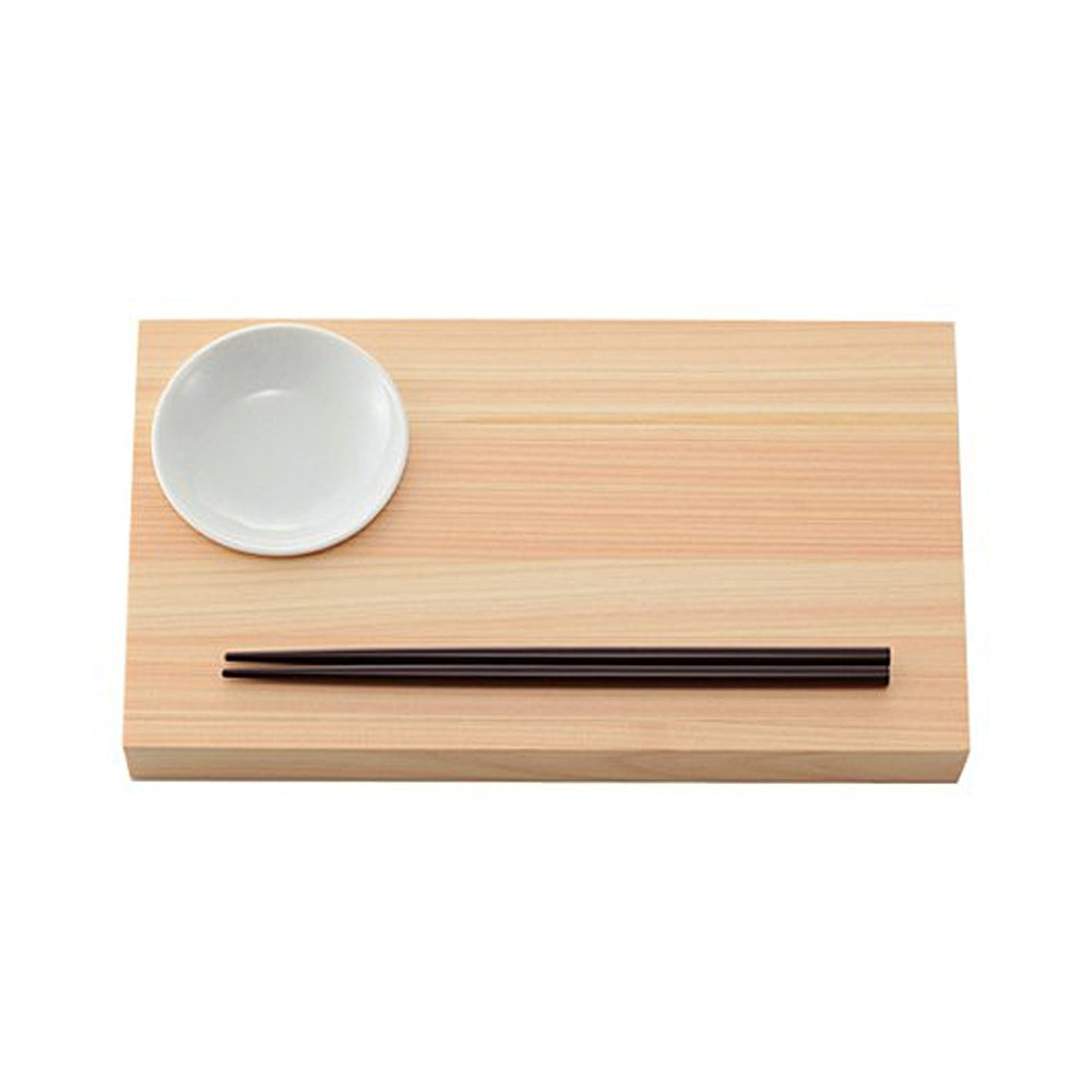 Wooden Zen Sushi Plate - Japanese Cypress with Chopsticks and Soy Sauce Plate (Copy)