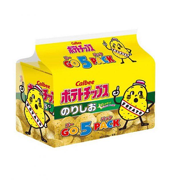 CALBEE Potato Chips Seaweed & Salt - 28g x 5 Packs