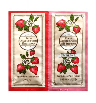 EBINA Organic Farm Strawberry Shampoo & Milk Treatment Testers