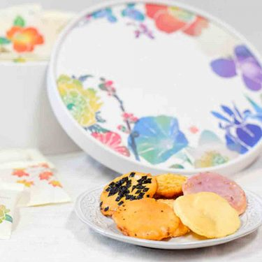GINZA AKEBONO Rice Cracker Nijushisetsu Flower Made in Japan