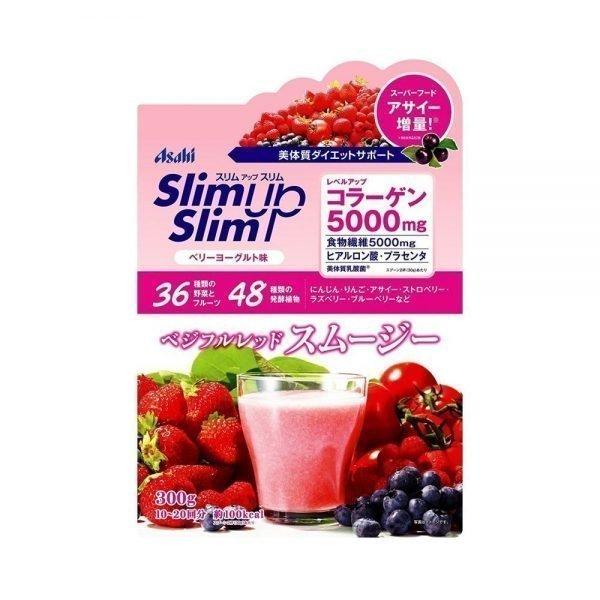 ASAHI Slim Up Slim Vegeful Red Smoothie with Collagen 5000mg - Berry Yogurt 300g