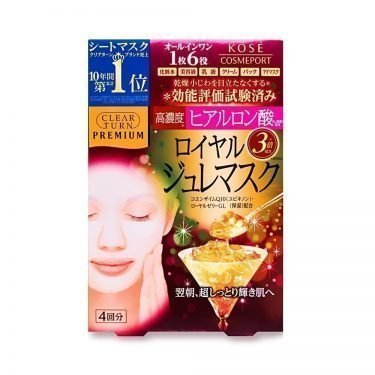 KOSE Premium Clear Turn Jelly Face Mask - Hyaluronic Acid Royal Jelly Coenzyme Q10