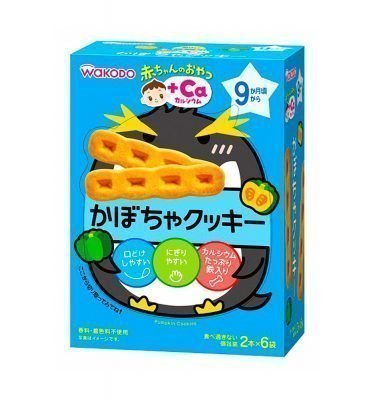 WAKODO Baby Snack Ca Calcium Pumpkin Cookie from 9 Months - 2 Sticks x 6 in Box