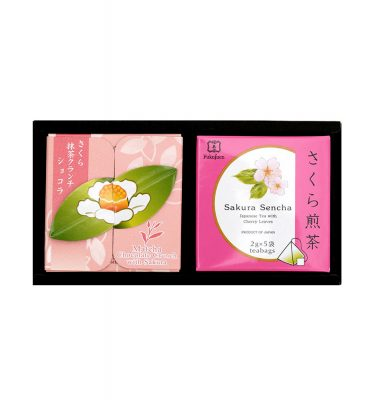 FUKUJUEN Sakura Set - Sakura Green Tea & Matcha Crunchy Chocolate