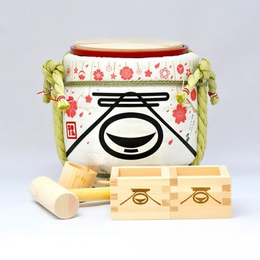 Mini Sake Barrel Handmade Kagami Biraki Party Set - Spring