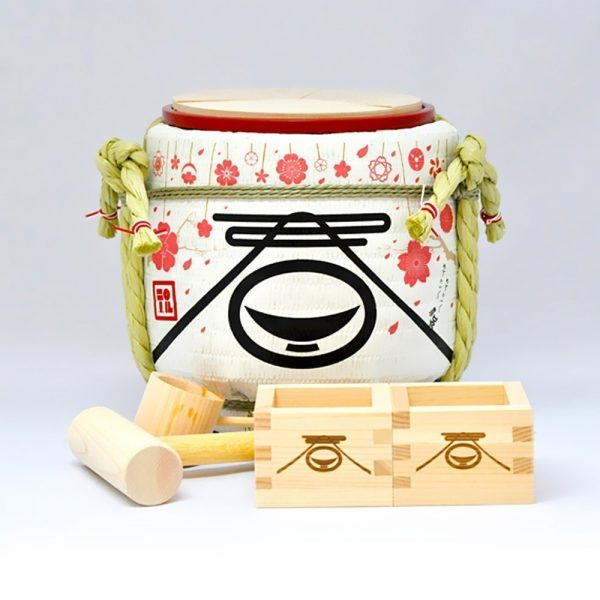 Mini Sake Barrel Handmade Kagami Biraki Party Set - Spring