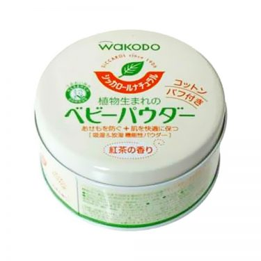 WAKODO Siccarol Natural Baby Powder with Cotton Puff & Tea Fragrance - 120g