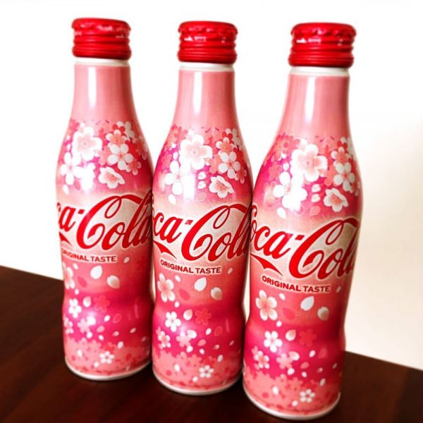 COCA COLA Japanese Sakura Design 2019 Spring Alu Slim Bottle Made in Japan