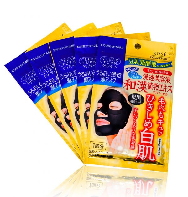 KOSE Cosmeport Clear Turn Pore Black Face Masks 5 Sheets