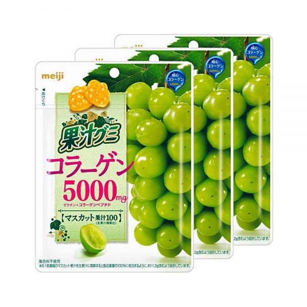 MEIJI Fruit Gumi Gummy Candy Collagen 5000mg Muscat Grape Made in Japan