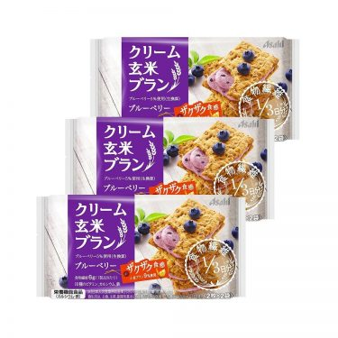 ASAHI Cream Brown Rice Blanc Blueberry Healthy Snacks Made in Japan