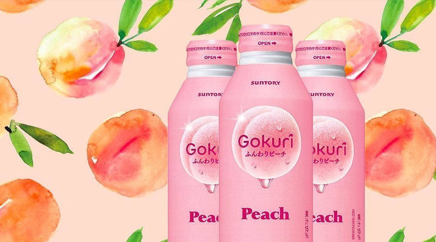 Suntory Gokuri Real Peach Pulps Nectar 400ml Banner Made in Japan