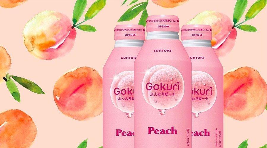 Suntory Gokuri Real Peach Pulps Nectar 400ml Banner Made in Japan