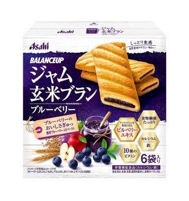 ASAHI Balance Up Jam Brown Rice Bran Blueberries Cookies Made in Japan