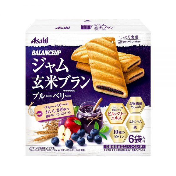 ASAHI Balance Up Jam Brown Rice Bran Blueberries Cookies Made in Japan