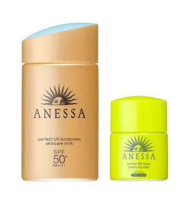 SHISEIDO Anessa Perfect UV Sunscreen Skin Care Milk + Perfect BB Based Beauty Booster Made in Japan