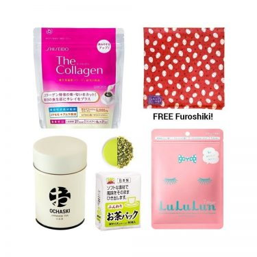 HAPPY SET Shiseido Collagen Lululun Mask Ochaski Tea Tea Bags FREE Furoshiki Made in Japan