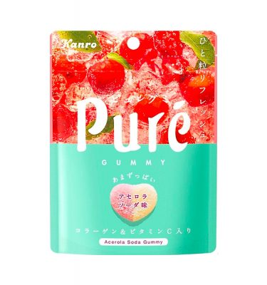KANRO Pure Gummy Acerola Soda Flavour with Collagen and Vitamin C Made in Japan