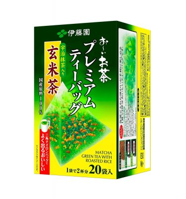 ITOEN Matcha Green Tea and Roasted Rice Oi Ocha Triangle Teabags Made in Japan