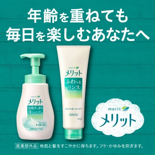 KAO Merit Rinse Skin Refreshing Bubble Shampoo Pump Made in Japan
