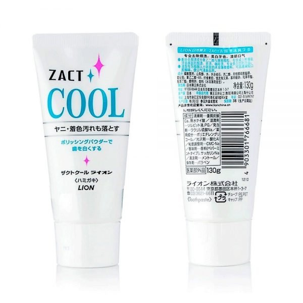 LION Zact Cool Medicated Smoker Toothpaste Ice Peppermint Made in Japan
