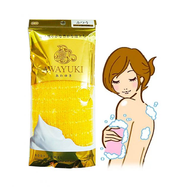 AWAYUKI Exfoliating Nylon Wash Cloth Body Towel Normal Type Made in Japan