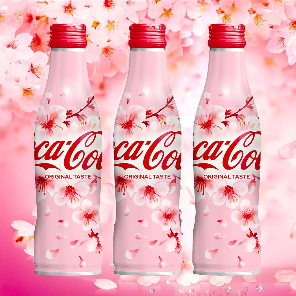 Coca Cola Coke Japan Aluminium Bottle Unopened Qty 2 x 2018 spring SAKURA Design